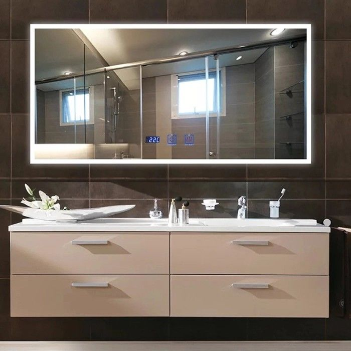 Anti Fog Shower Mirror With Radio , Led Lighted Bathroom Mirror